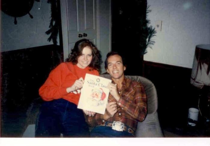 Dad and me at Christmas, 1987